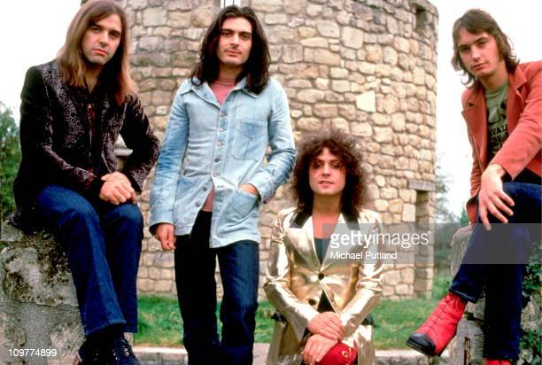 Drummer Bill Legend percussionist Mickey Finn singer and guitarist Marc Bolan and bassist Steve Currie of TRex poses in 1972