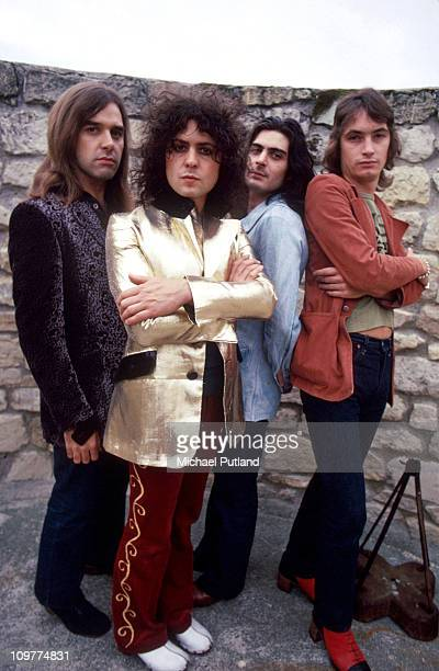 Drummer Bill Legend singer and guitarist Marc Bolan percussionist Mickey Finn and bassist Steve Currie of TRex poses in 1972