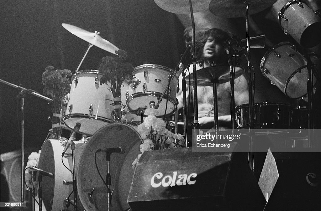 Drummer Bill Ward of Black Sabbath performs on stage at Hammersmith Odeon, London, January 1976.