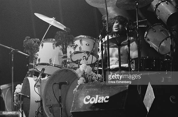 Drummer Bill Ward of Black Sabbath performs on stage at Hammersmith Odeon London January 1976