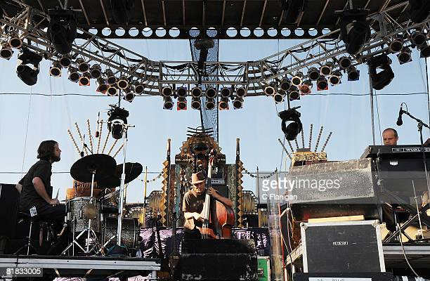 Drummer Billy Martin Bassist Chris Wood and Keyboardist John Medeski collectively known as Medeski Martin Wood perform during the Rothbury Music...