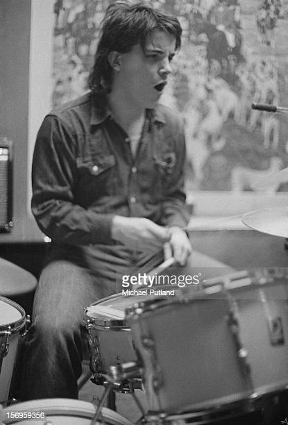Drummer Billy Rankin of English pub rock band Brinsley Schwarz performs at the Tally Ho! in Kentish Town, London, 19th April 1972.
