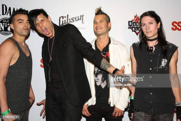 Drummer Bobby Amaro vocalist Jay Gordon bassist Nic Speck and guitarist Carlton Bost of Orgy arrive at the 6th annual Sunset Strip Music Festival...