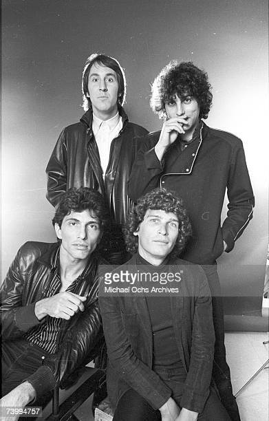 Drummer Bruce Gary singer Doug Fieger bassist Prescott Niles and guitarist Berton Averre of the rock and roll The Knack pose for a portrait on...