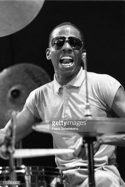 Drummer Calvin Weston performs live on stage at the BIM Huis in Amsterdam, Netherlands on 9th April 1988.
