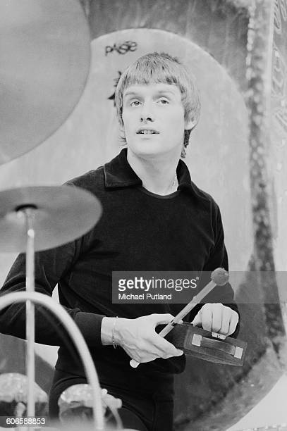Drummer Carl Palmer of English progressive rock group Emerson Lake and Palmer during rehearsals for the band's 'Works' tour at the Olympic Stadium...