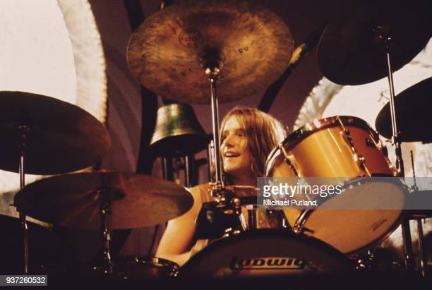 Drummer Carl Palmer of English progressive rock group Emerson, Lake & Palmer, performing on stage, 1970.