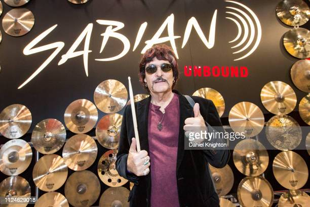 Drummer Carmine Appice poses at the Sabian booth at Anaheim Convention Center on January 24 2019 in Anaheim California