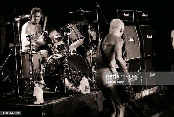 Drummer Chad Smith and bassist Flea in sync as they perform in Red Hot Chili Peppers for Rock for Choice at the Hollywood Palladium on September 27...