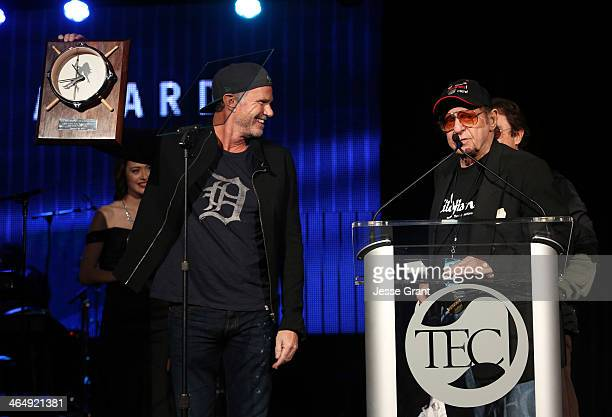 Drummer Chad Smith and drummer Hal Blaine attend the NAMM Tec Awards at the Anaheim Hilton on January 24 2014 in Anaheim California