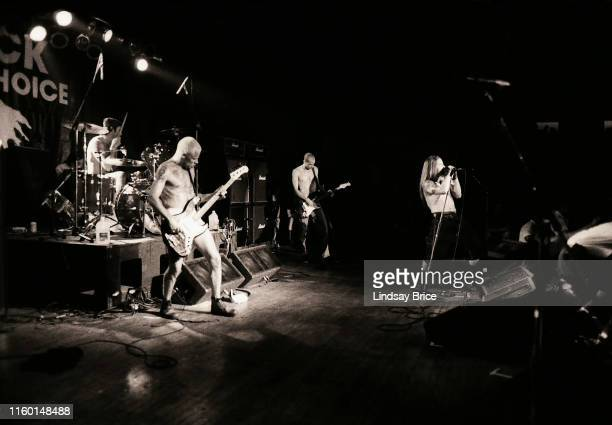 Drummer Chad Smith bassist Flea guitarist Arik Marshall and vocalist Anthony Kiedies perform in Red Hot Chili Peppers for Rock for Choice at the...