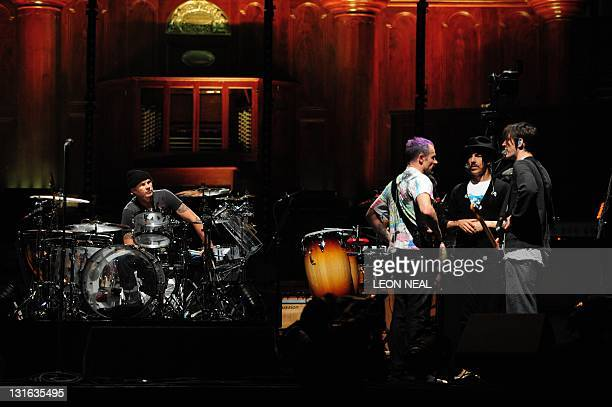 Drummer Chad Smith Bassist Michael Flea Balzary vocalist Anthony Kiedis and guitarist Josh Klinghoffer of the US rock band Red Hot Chili Peppers...