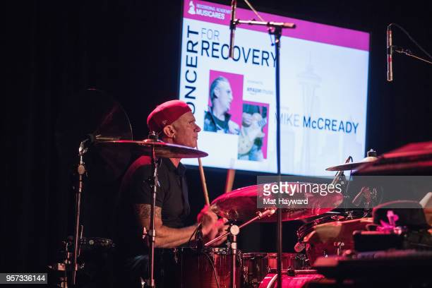 Drummer Chad Smith of Red Hot Chili Peppers performs on stage during the MusiCares Concert For Recovery presented by Amazon Music at the Showbox on...
