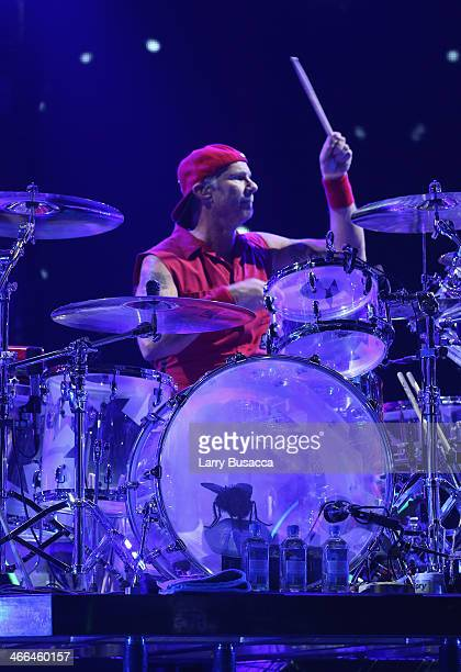 Drummer Chad Smith of Red Hot Chili Peppers performs onstage at WFANs Big Hello To Brooklyn at Barclays Center of Brooklyn on February 1 2014 in New...