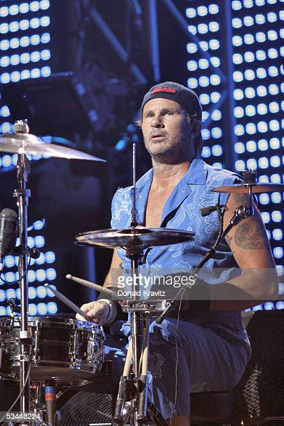 Drummer Chad Smith of Red Hot Chilli Peppers performs in the Event Center at The Borgata Hotel Casino and Spa August 21 2005 in Atlantic City New...