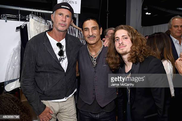 Drummer Chad Smith of the Red Hot Chili Peppers Creative Director of Electric Hospitality Nur Khan and musician Andrew Watt attend the John Varvatos...