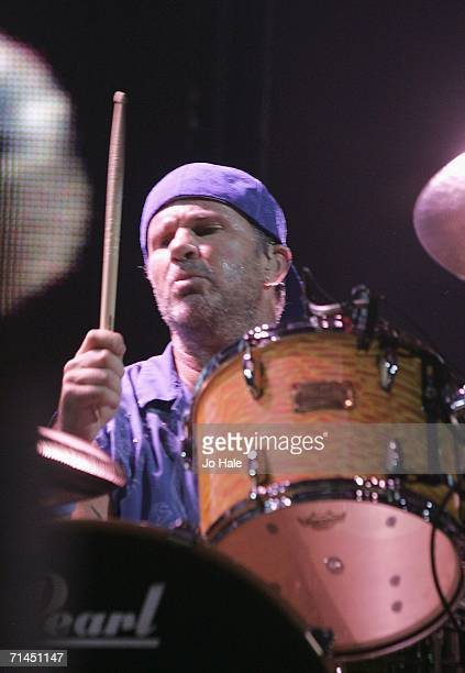 Drummer Chad Smith of the Red Hot Chili Peppers performs at Earls Court on July 14 2006 in London England