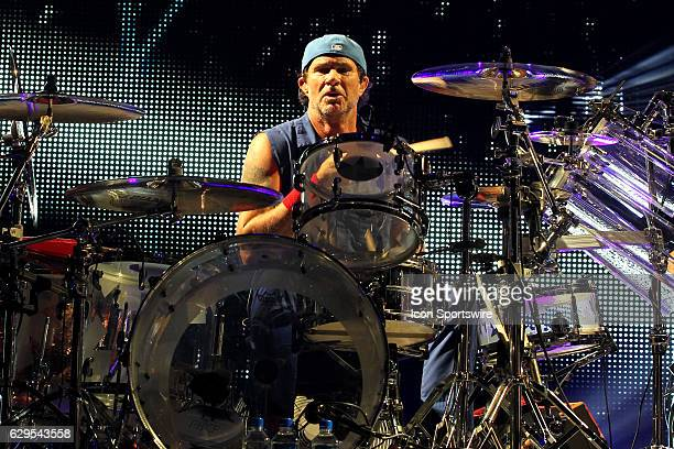 Drummer Chad Smith of the Red Hot Chili Peppers performs during a concert on May 04 at the Prudential Center in Newark NJ