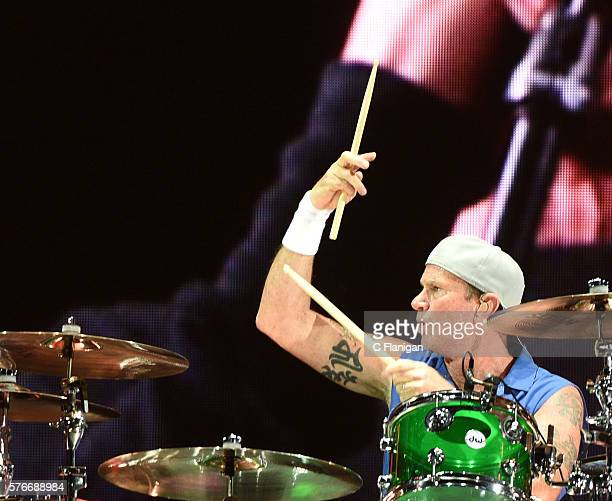 Drummer Chad Smith of the Red Hot Chili Peppers performs during the 2016 Festival D'ete De Quebec on July 16 2016 in Quebec City Canada