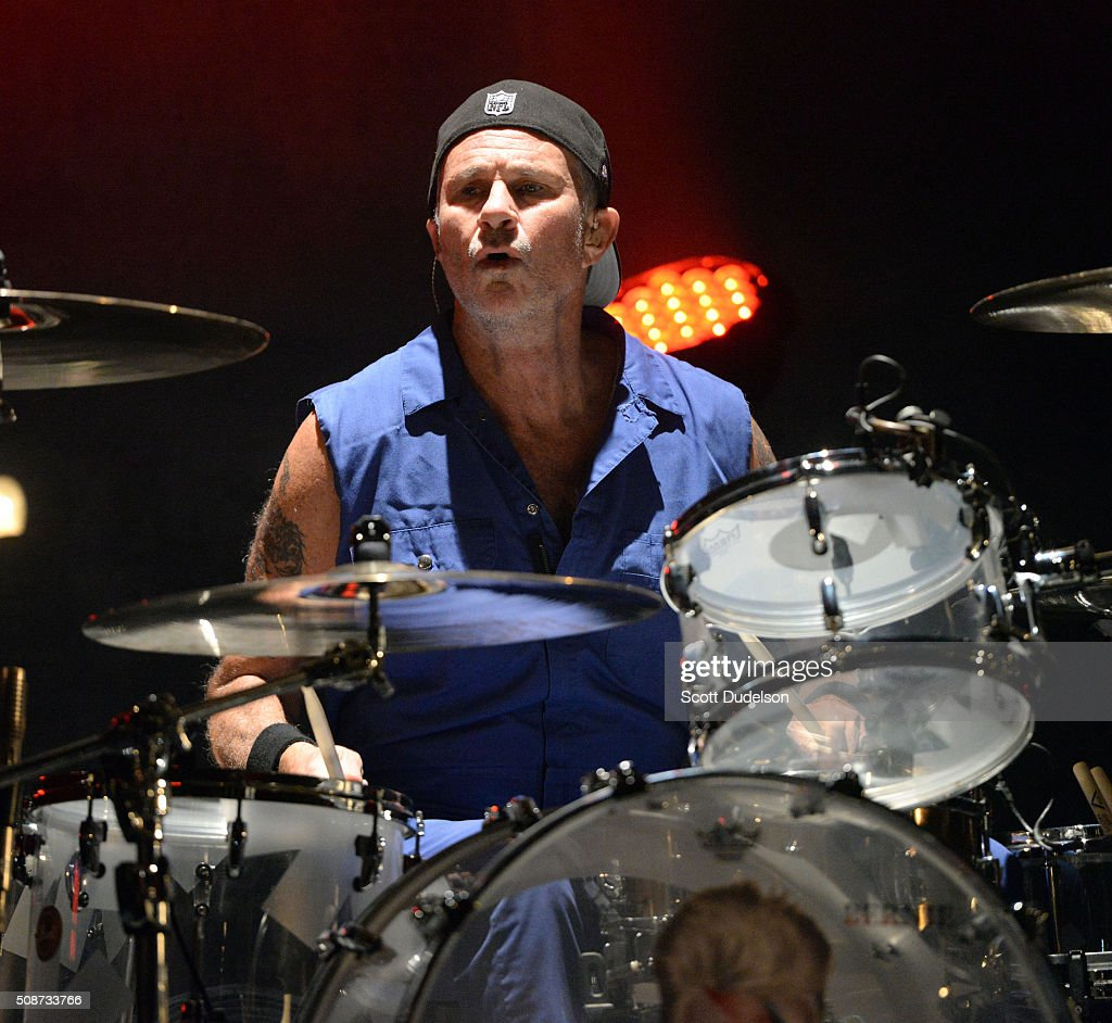 Drummer Chad Smith of the Red Hot Chili Peppers performs onstage during the 'Feel the Bern' fundraiser for Presidential candidate Bernie Sanders at Ace Theater Downtown LA on February 5, 2016 in Los Angeles, California.