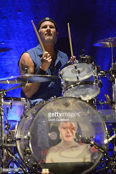 Drummer Chad Smith of the Red Hot Chili Peppers performs onstage during the 'Feel the Bern' fundraiser for Presidential candidate Bernie Sanders at...