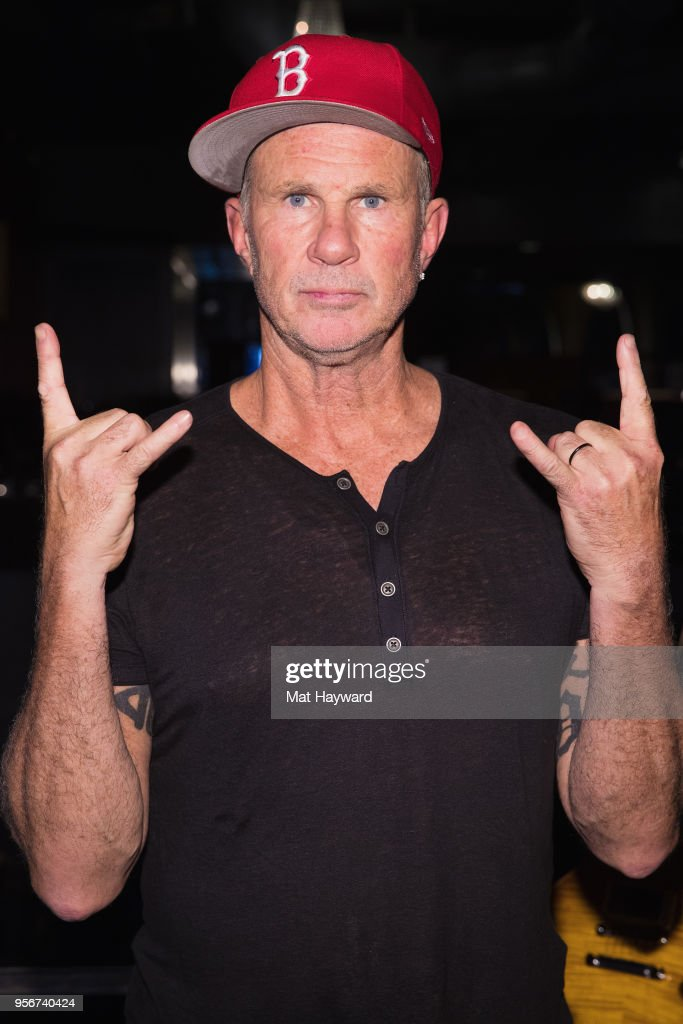 Drummer Chad Smith of the Red Hot Chili Peppers poses for a photo after rehearsal for the Musicares Concert for Recovery at the Showbox on May 9, 2018 in Seattle, Washington.