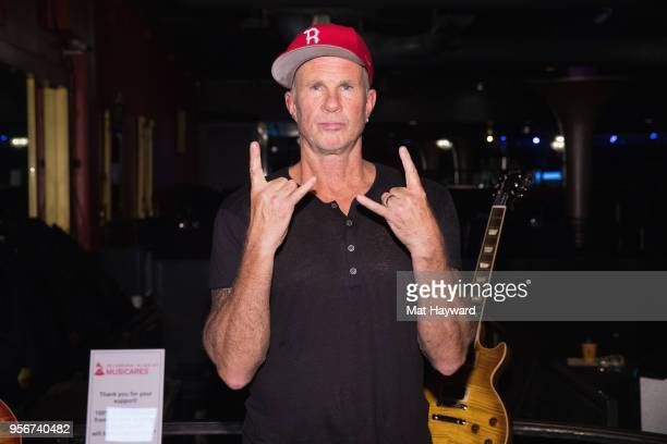 Drummer Chad Smith of the Red Hot Chili Peppers poses for a photo after rehearsal for the Musicares Concert for Recovery at the Showbox on May 9 2018...