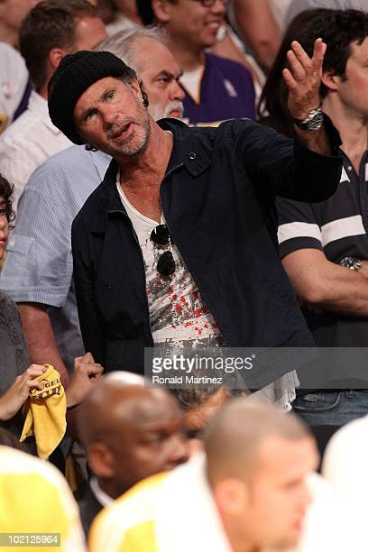Drummer Chad Smith of the Red Hot Chili Peppers reacts in Game Six of the 2010 NBA Finals between the Boston Celtics and the Los Angeles Lakers at...
