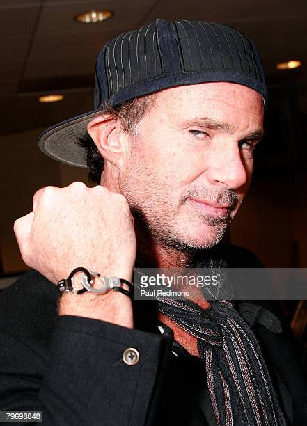 Drummer Chad Smith of The Red Hot Chili Peppers with id xchange bracelet at the MusicCares VIP Gifting Suite on February 8 2008 in Los Angeles...