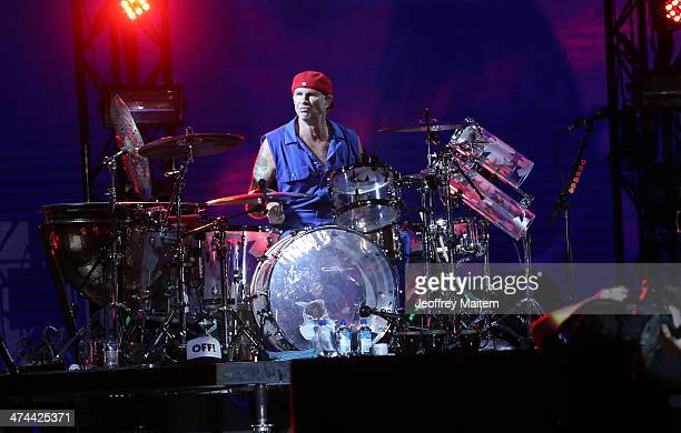 Drummer Chadwick Gaylord of the Red Hot Chili Peppers performs at the 7107 International Music Festival on February 23 2014 in Clark Philippines