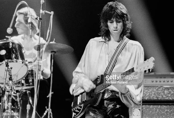 Drummer Charlie Watts and guitarist Keith Richards performing with the Rolling Stones at Wembley Empire Pool London 8th September 1973