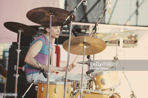 Drummer Charlie Watts of English rock group the Rolling Stones performs live on stage at the John F Kennedy Stadium in Philadelphia United States on...