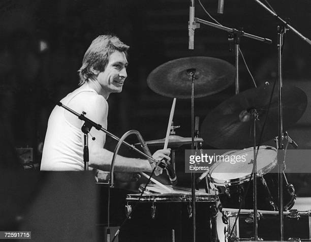 Drummer Charlie Watts of the Rolling Stones at a British concert and sporting a new David Bowie style feather cut