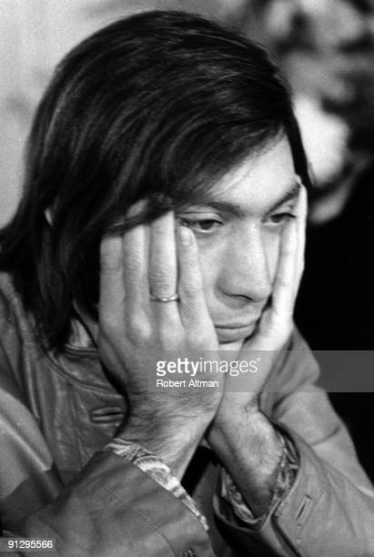 Drummer Charlie Watts of the Rolling Stones in a pensive moment at Elektra Records Studios on October 20 1969 in Beverly Hills California