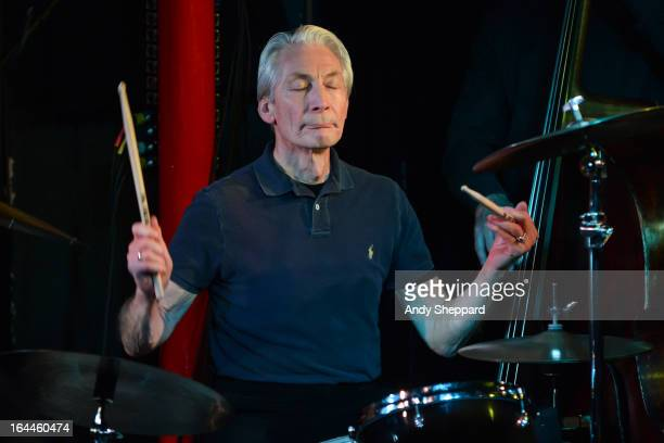 Drummer Charlie Watts performs on stage with ABCD of Boogie Woogie during the Steinway Festival 2013 at Pizza Express Jazz Club on March 23 2013 in...