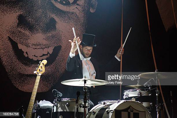 Drummer Chris Dangerous of The Hives performs onstage in concert at The Vogue on March 4 2013 in Indianapolis Indiana