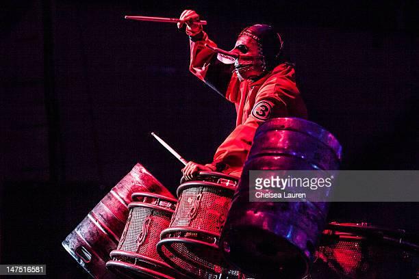 Drummer Chris Fehn of Slipknot performs at the Rockstar Energy Drink Mayhem Festival at San Manuel Amphitheater on June 30 2012 in San Bernardino...