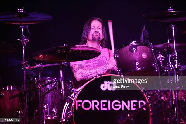 Drummer Chris Frazier of the rock band Foreigner performs in front of a soldout crowd at the Belterra Casino on February 16 2013 in Florence Indiana