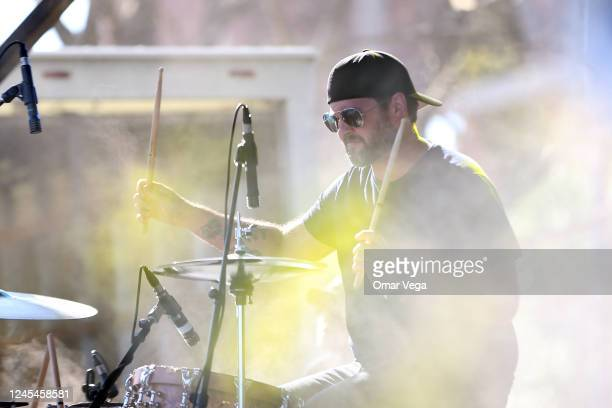 Drummer Chris Thompson of Eli Young Band performs on stage during a concert at the Global Life Field parking lot on June 04 2020 in Arlington Texas...