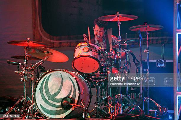 Drummer Chris Thompson of the Eli Young Band performs at the Bridgestone Arena on October 19 2012 in Nashville Tennessee