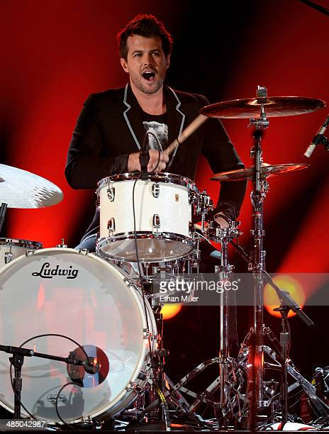 Drummer Chris Thompson of the Eli Young Band performs during ACM Presents An AllStar Salute To The Troops at the MGM Grand Garden Arena on April 7...