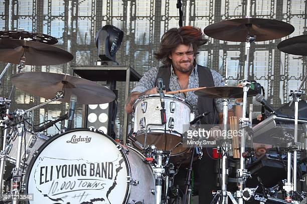 Drummer Chris Thompson of the Eli Young Band performs during Stagecoach California's Country Music Festival day 2 at The Empire Polo Club on April 25...