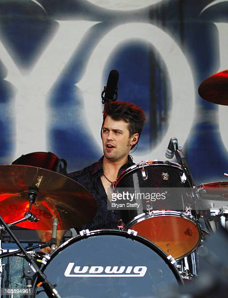 Drummer Chris Thompson of the Eli Young Band performs during the 48th Annual Academy Of Country Music Awards Party for a Cause Festival at the...