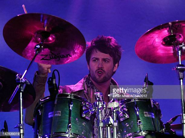 Drummer Chris Thompson of the Eli Young Band performs during the Academy of Country Music Awards AllStar Jam at the MGM Grand Hotel/Casino on April 1...