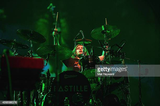 Drummer Chris Woody Wood of Bastille performs on stage at KeyArena on November 25 2014 in Seattle Washington