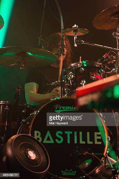 Drummer Chris Woody Wood of Bastille performs on stage at Showbox Sodo on April 8 2014 in Seattle Washington