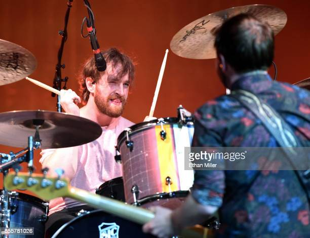 Drummer Daniel Platzman and bassist Ben KcKee of Imagine Dragons perform during a stop of the band's Evolve World Tour at TMobile Arena on September...