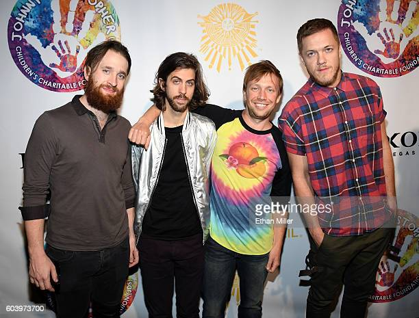 Drummer Daniel Platzman guitarist Wayne Sermon bassist Ben McKee and singer/drummer Dan Reynolds of Imagine Dragons attend Criss Angel's HELP charity...
