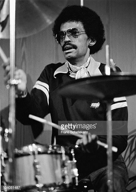 Drummer Dannie Richmond performs on stage at Meervaart on August 11 1980 in Amsterdam, Netherlands.