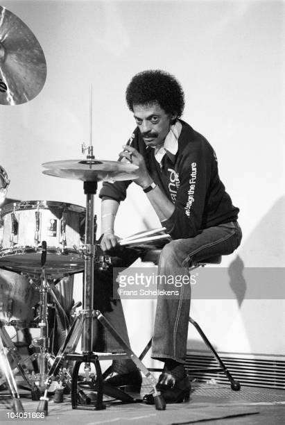 Drummer Dannie Richmond poses for a portrait on stage at Mephisto on July 3 1984 in Rotterdam, Netherlands.